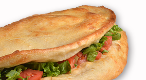 cloverleaf menu item - ham and cheese calzone
