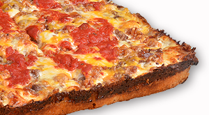 cloverleaf menu item - cheese burger pizza