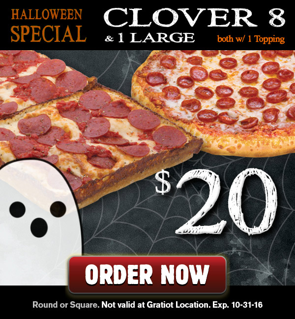 halloween clover 8 pizza special